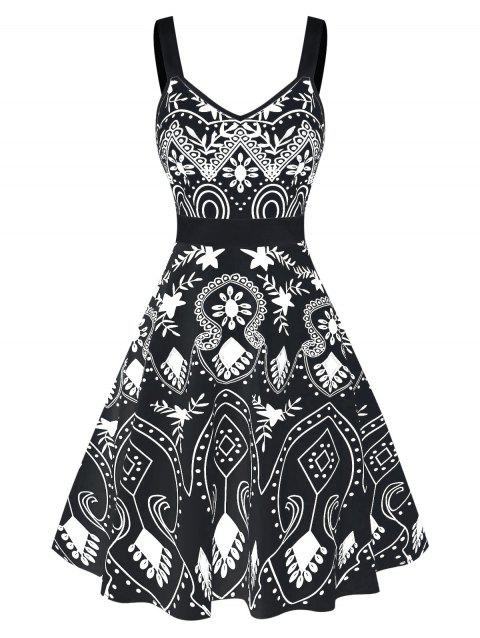 Floral Print Sweetheart Collar Fit And Flare Dress