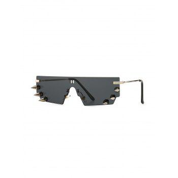 One-piece Rivets Exaggerated Rimless Sunglasses
