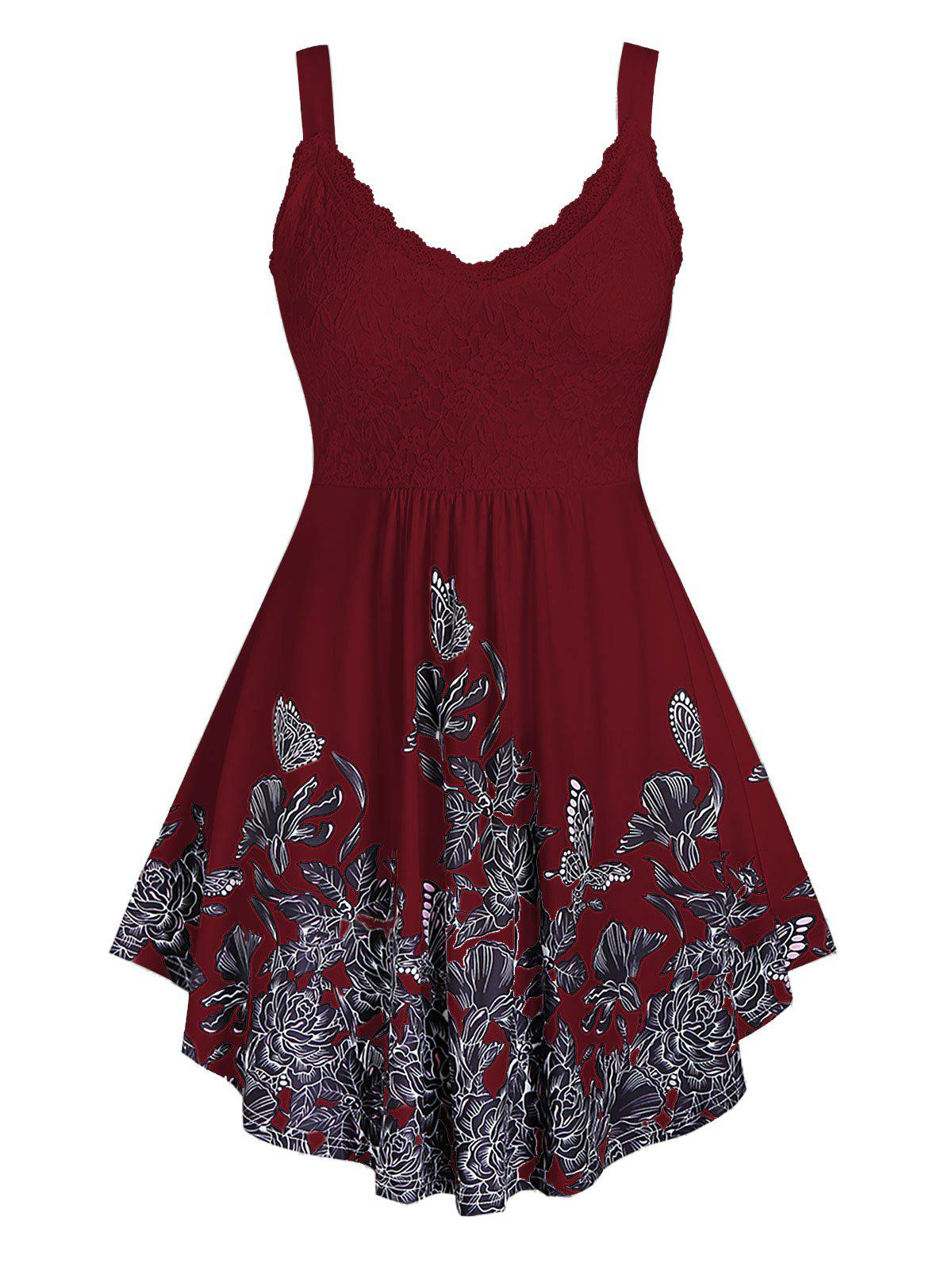 Plus Size Flower Print Lace Panel Tank Top - RED WINE 1X