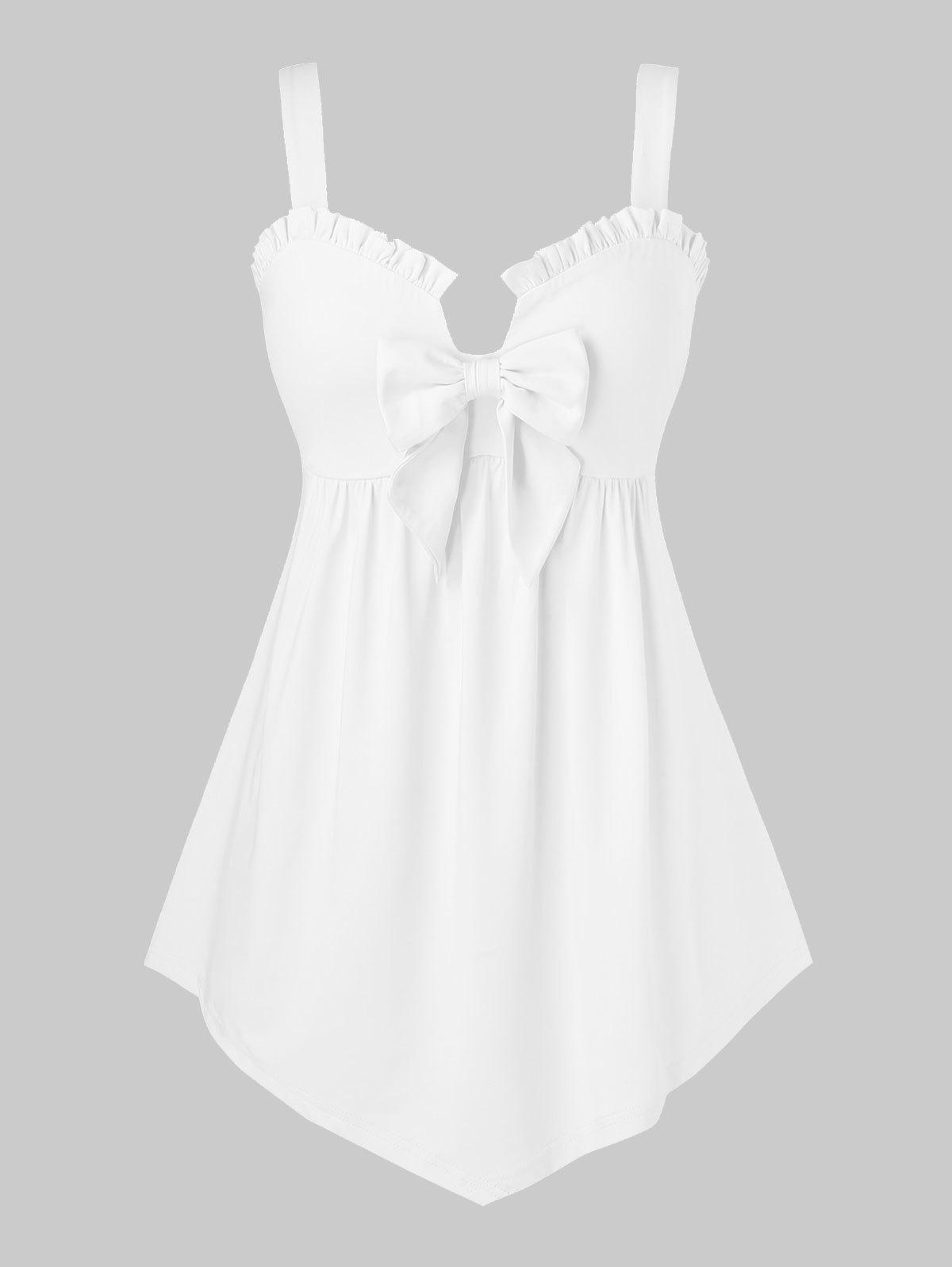 Plus Size Ruffled Bowknot Peplum Tank Top - MILK WHITE 3X