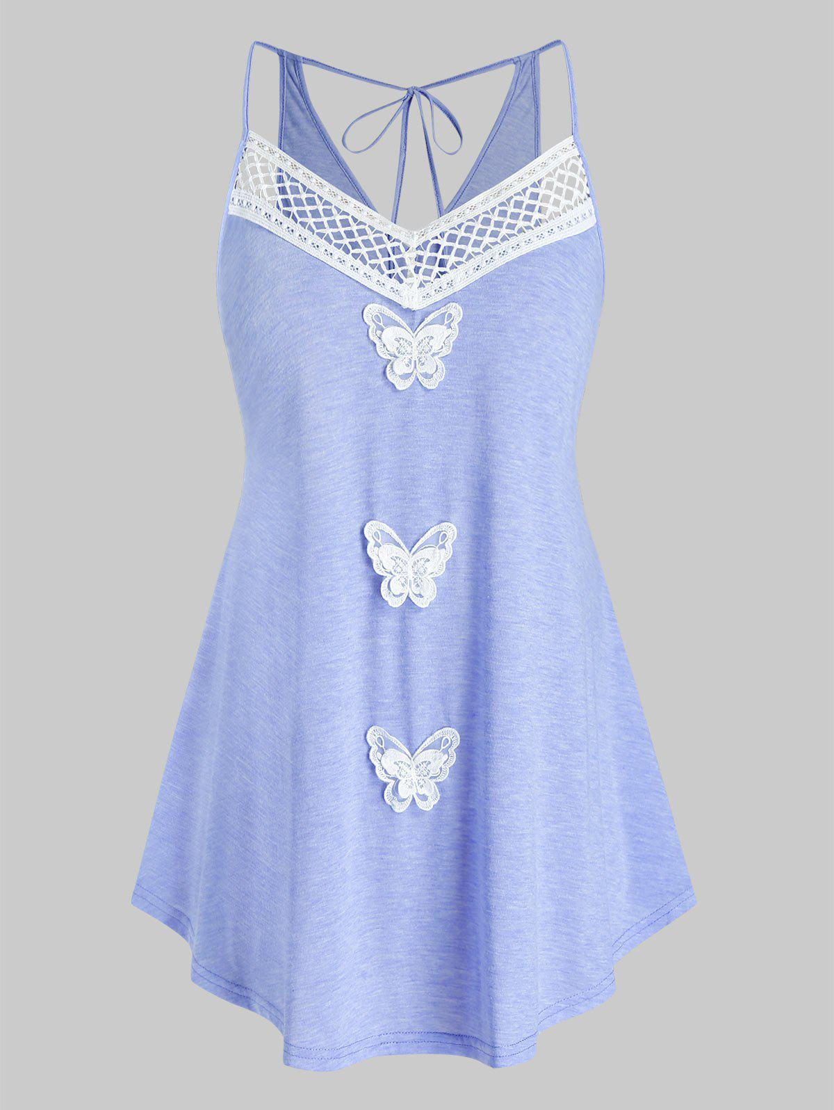 Plus Size Lace Butterfly Back Tie Cami Top - CROCUS PURPLE 2X