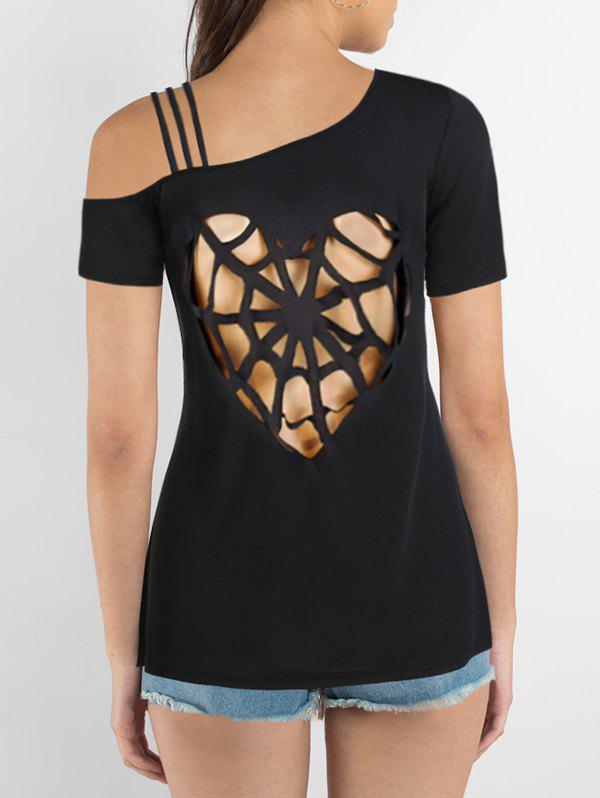Cut Out Heart Pattern Strappy T-shirt - BLACK S