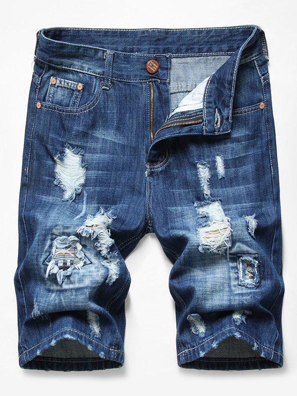 Patchworks Ripped Decorated Denim Shorts - DENIM DARK BLUE 34