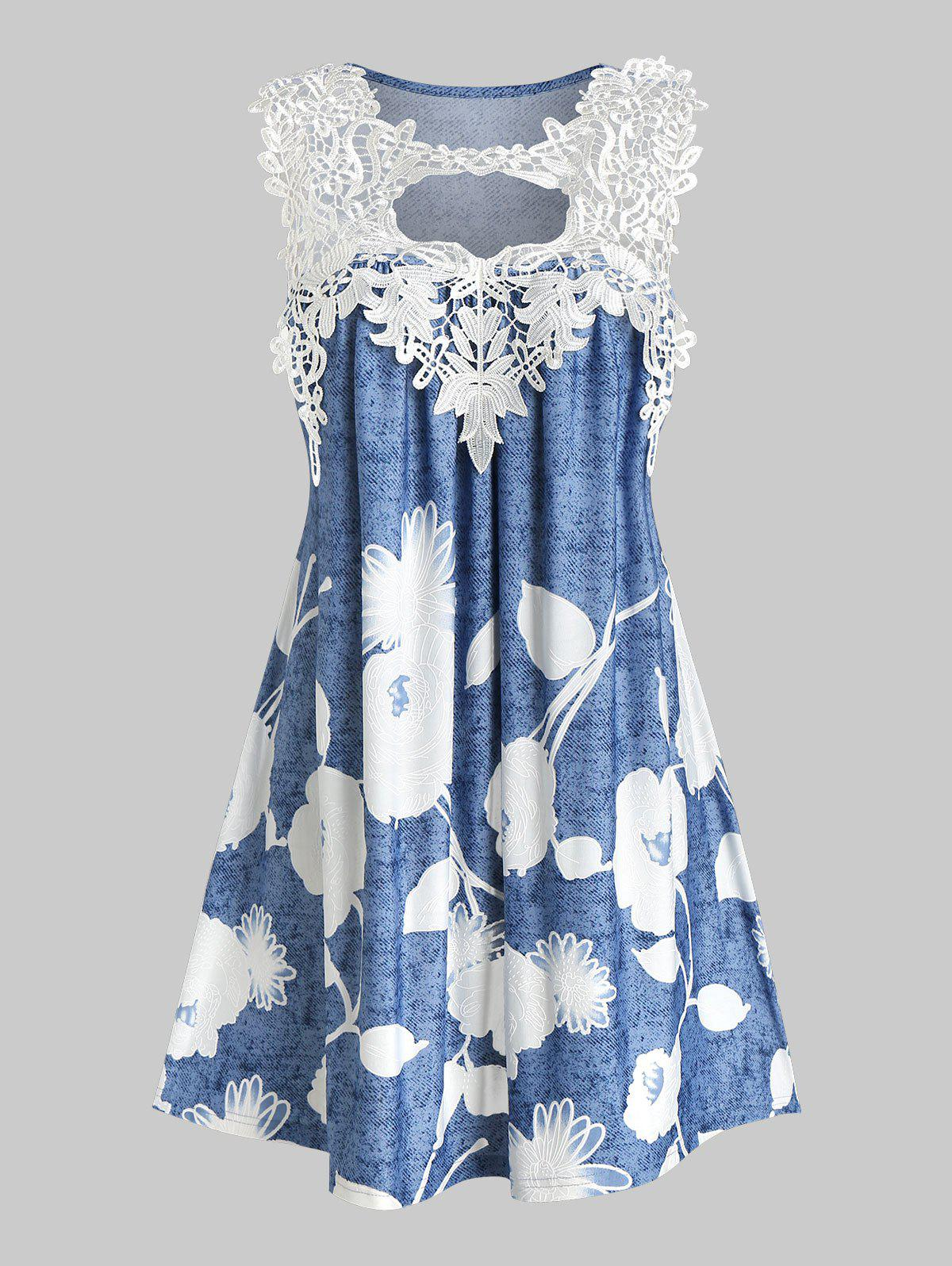 Flower Print Lace Insert Sleeveless Dress - DEEP SKY BLUE L