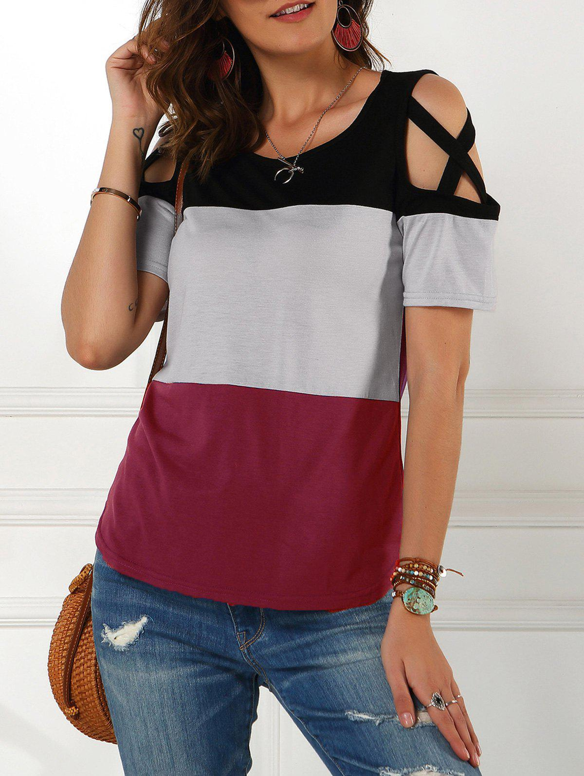 Colorblock Cold Shoulder Criss Cross Tee - DEEP RED M