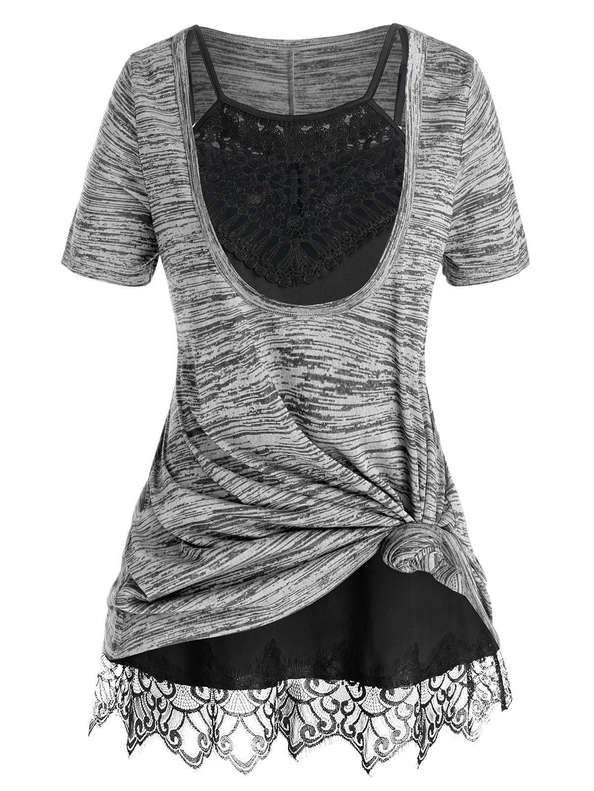 Plus Size Space Dye Front Knot T Shirt and Cami Top Set - SMOKEY GRAY 1X