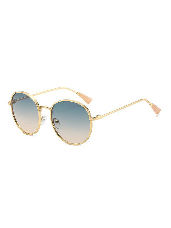 Round Metal Retro Sunglasses - CYAN OPAQUE