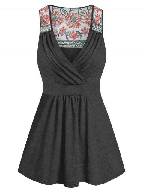 Flower Lace Insert Knot Back Tank Top