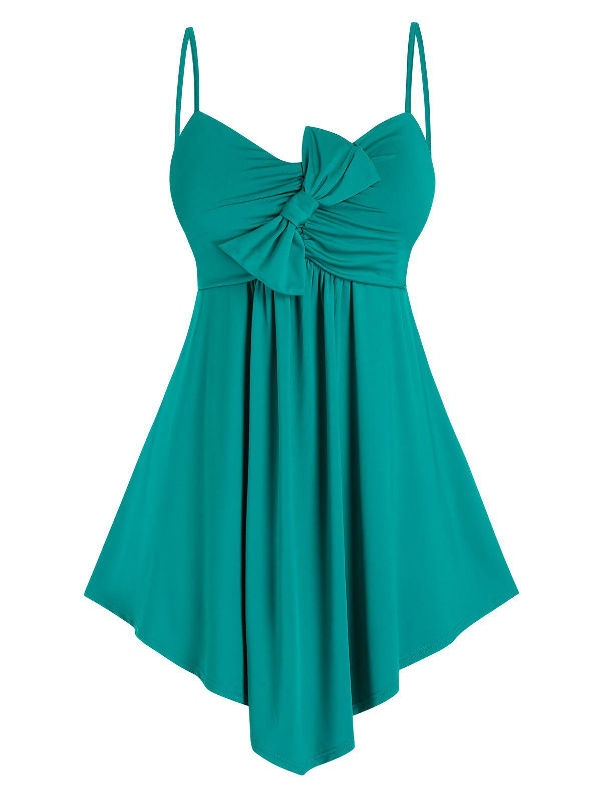 Plus Size Asymmetric Hem Bowknot Ruched Cami Top - DARK TURQUOISE 2X