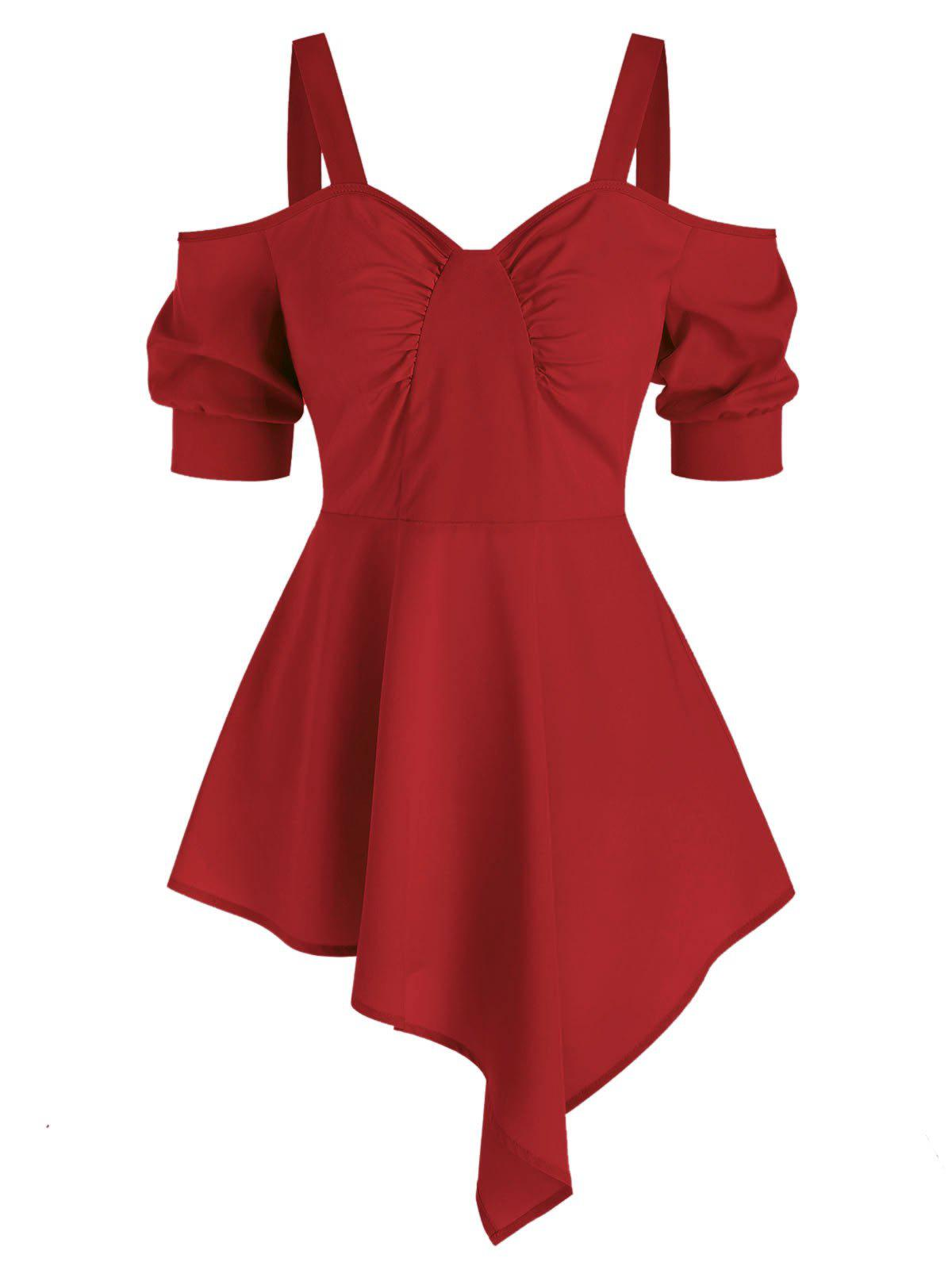 Open Shoulder Ruched Asymmetric Blouse - RED WINE S