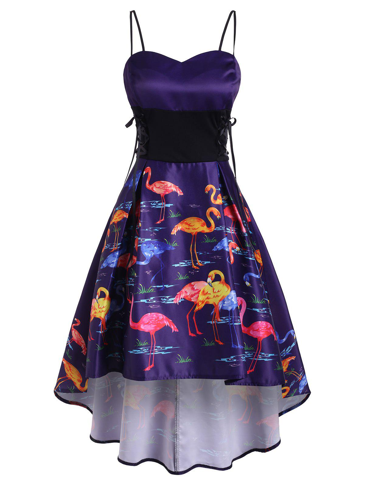 Flamingo Print High Low Lace Up Party Dress - PURPLE AMETHYST L