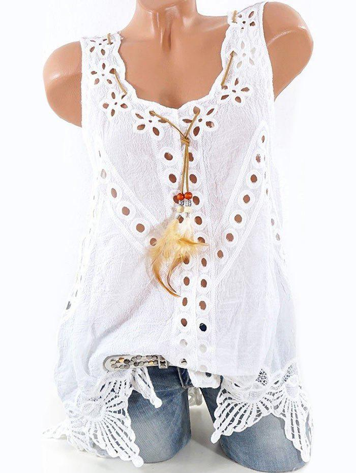 Plus Size Openwork Feather Tank Top - MILK WHITE 4XL