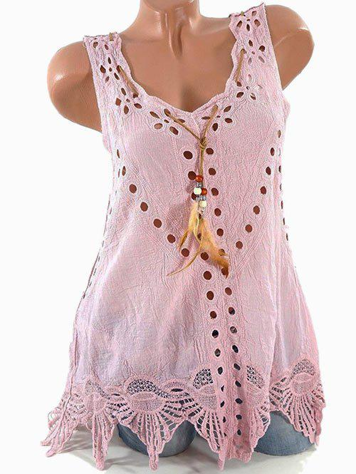 Plus Size Openwork Feather Tank Top - ROSE 3XL
