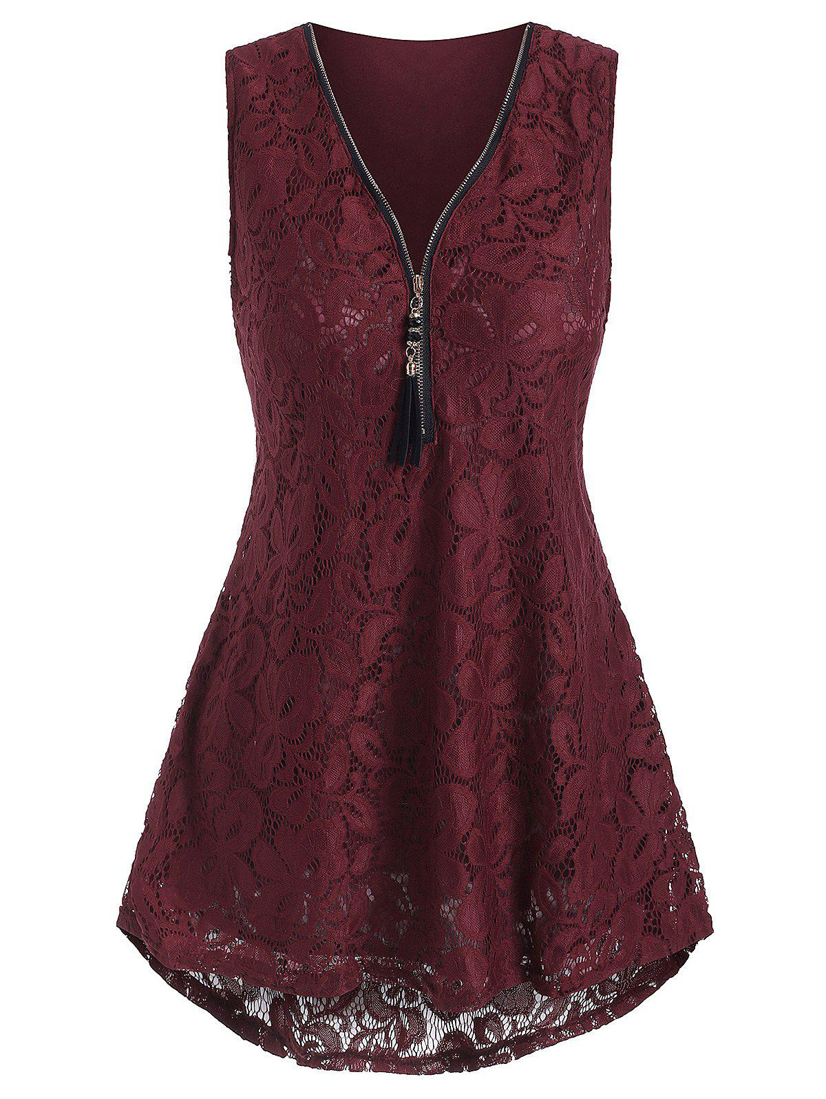 Plus Size Half Zip High Low Lace Tank Top - RED WINE 2XL