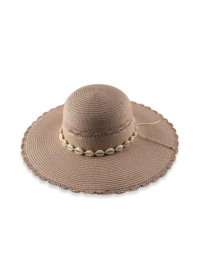 Beach Shells Scalloped Sun Proof Straw Hat - PINK