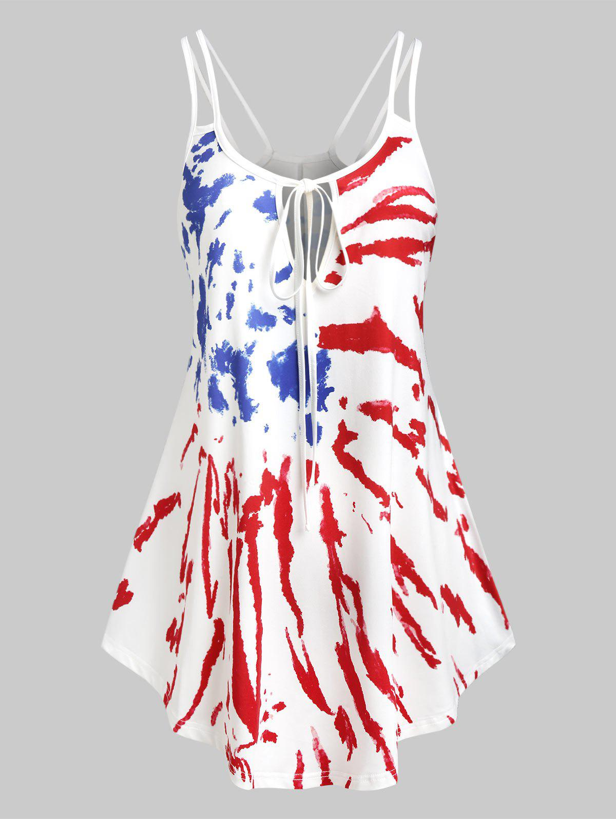 Plus Size American Flag Tie Dye Dual Strap Tank Top - RED WINE 3X