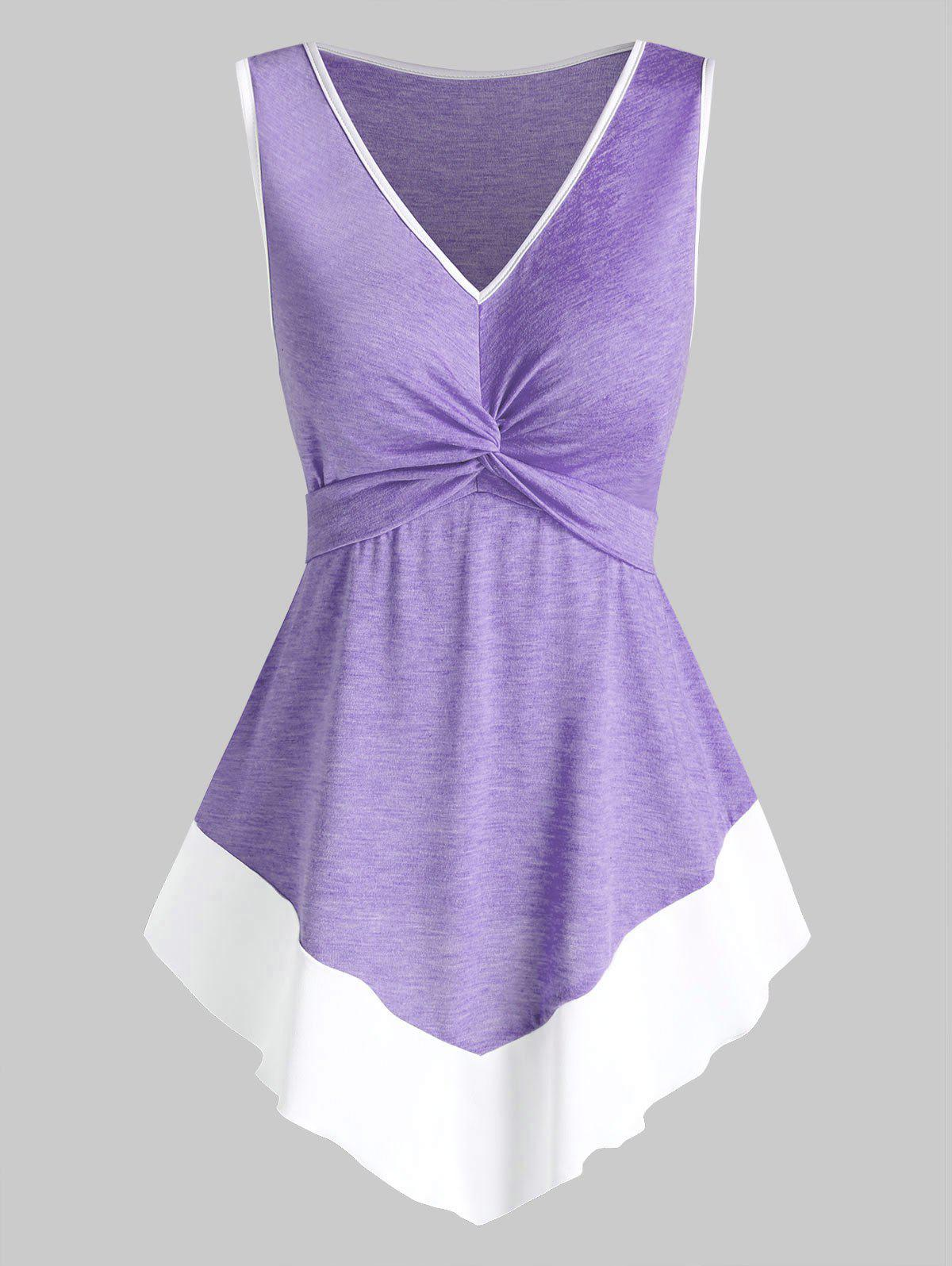 Twist Front Contrast Pointed Hem Tank Top - PURPLE S