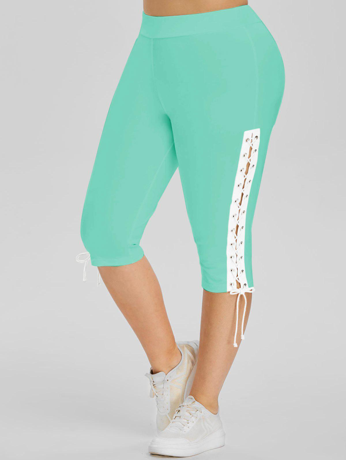 Lace Up Side High Waisted Plus Size Capri Pants - GREEN 1X