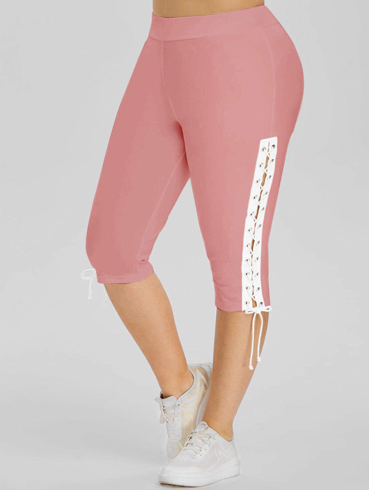 Lace Up Side High Waisted Plus Size Capri Pants - PINK 1X