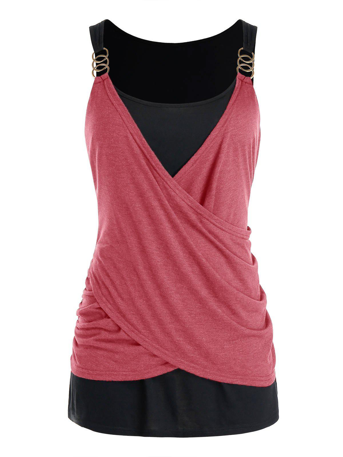 Plus Size Crossover Draped Tank Top - CHERRY RED L