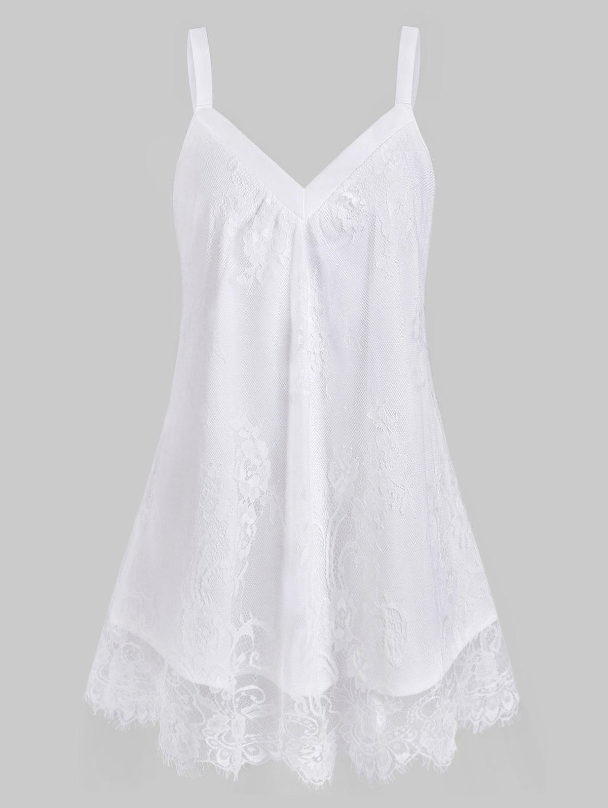 Plus Size Sweetheart Neck Floral Lace Overlay Tank Top - WHITE 1X