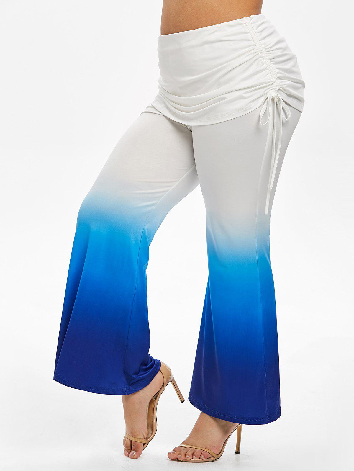 Plus Size Tie Dye Cinched Bell Bottom Pants - OCEAN BLUE 2X