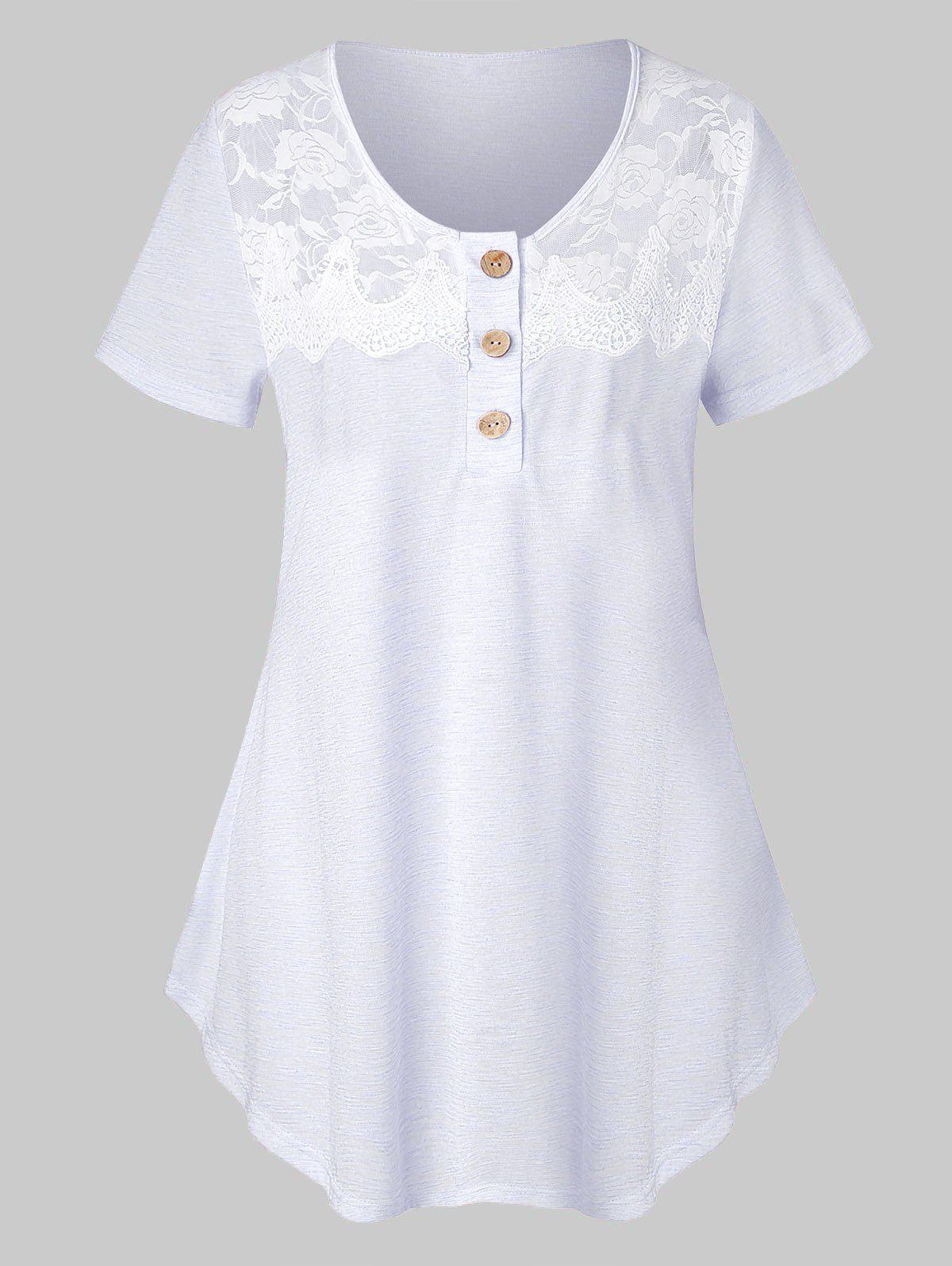 Plus Size Lace Insert Marled T Shirt - MILK WHITE L