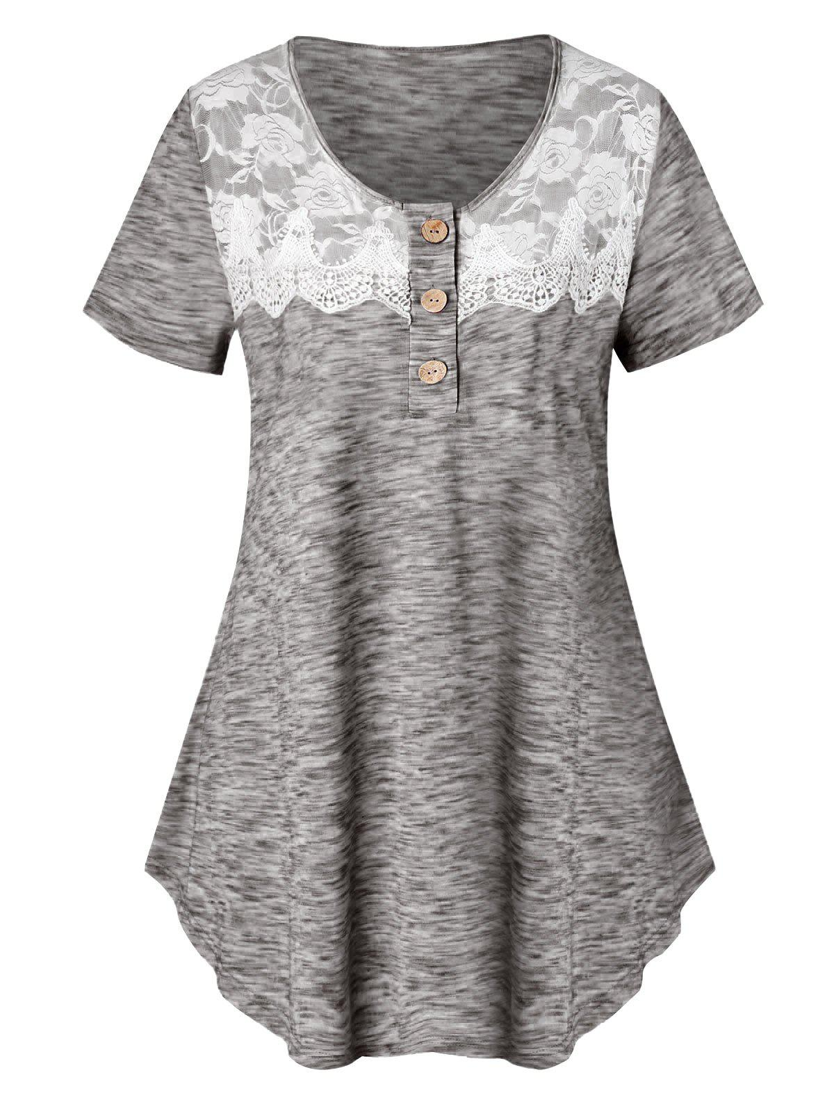 Plus Size Lace Insert Marled T Shirt - BATTLESHIP GRAY 1X