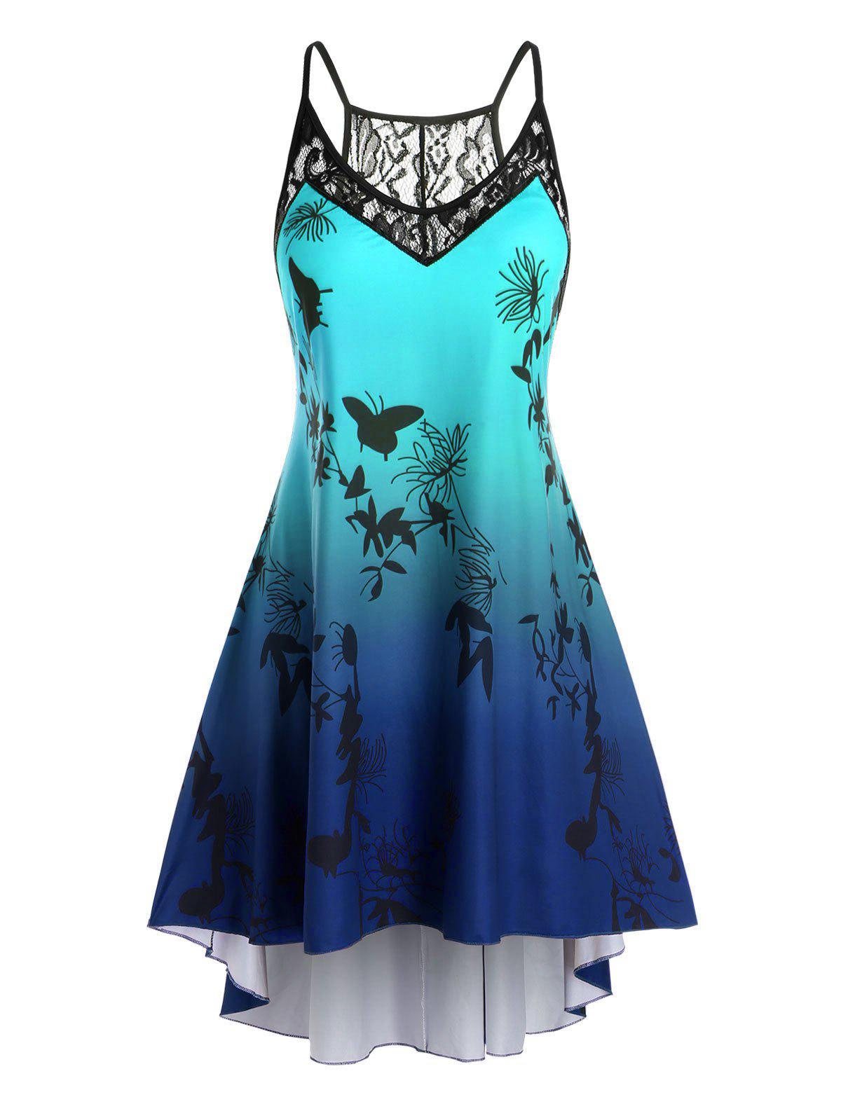 Plus Size Ombre Color Printed High Low Dress - BLUEBERRY BLUE 3X