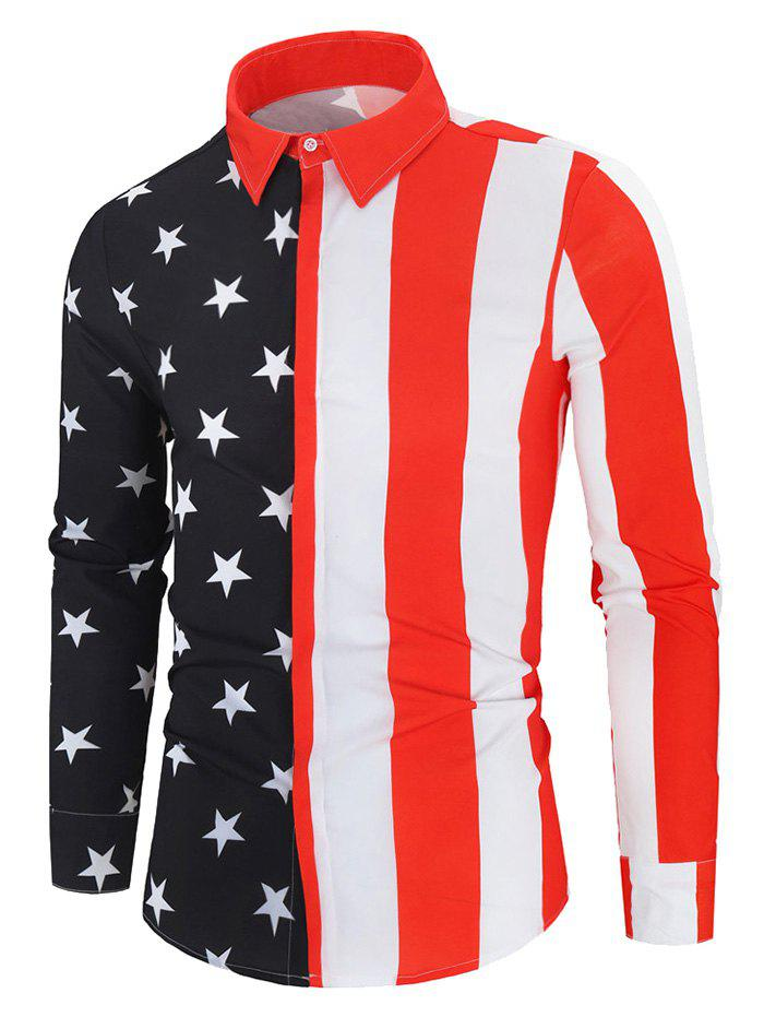 American Flag Print Button Up Long Sleeve Shirt - multicolor 3XL