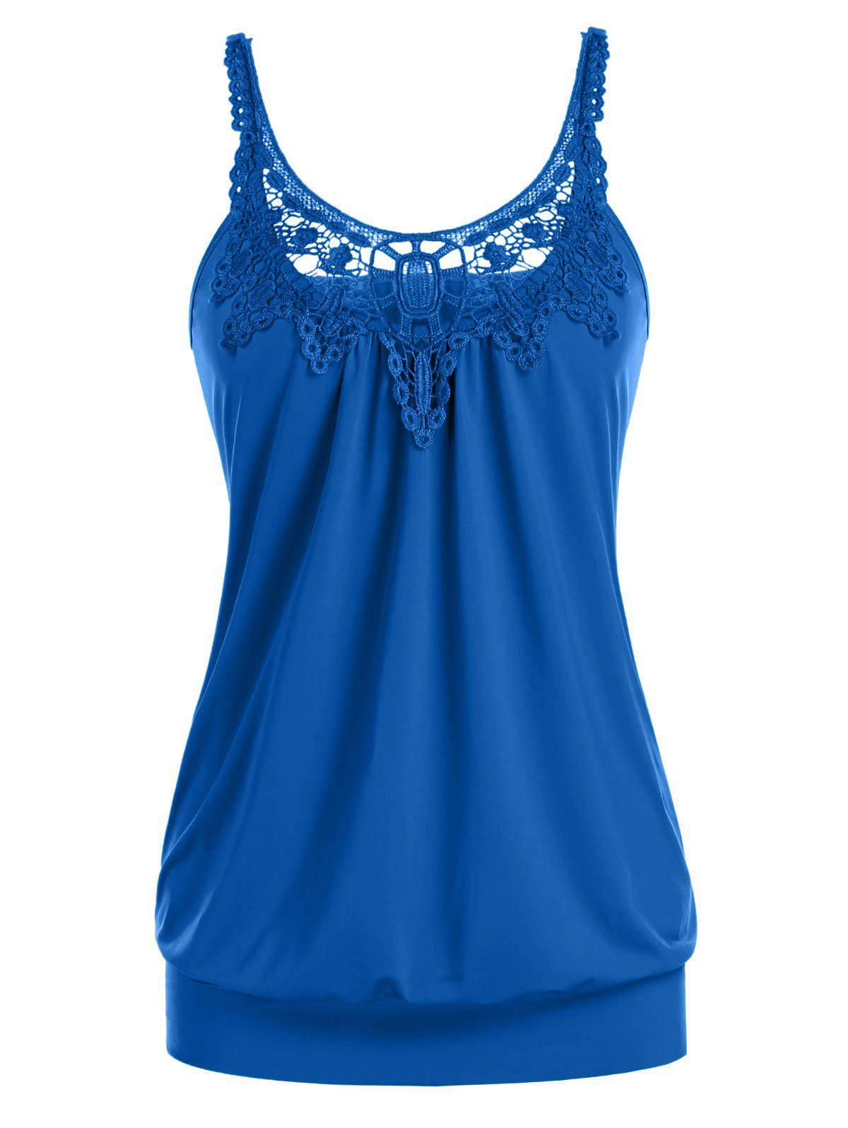 Plus Size Lace Splicing Ruched U Neck Tank Top - SLATE BLUE 4X