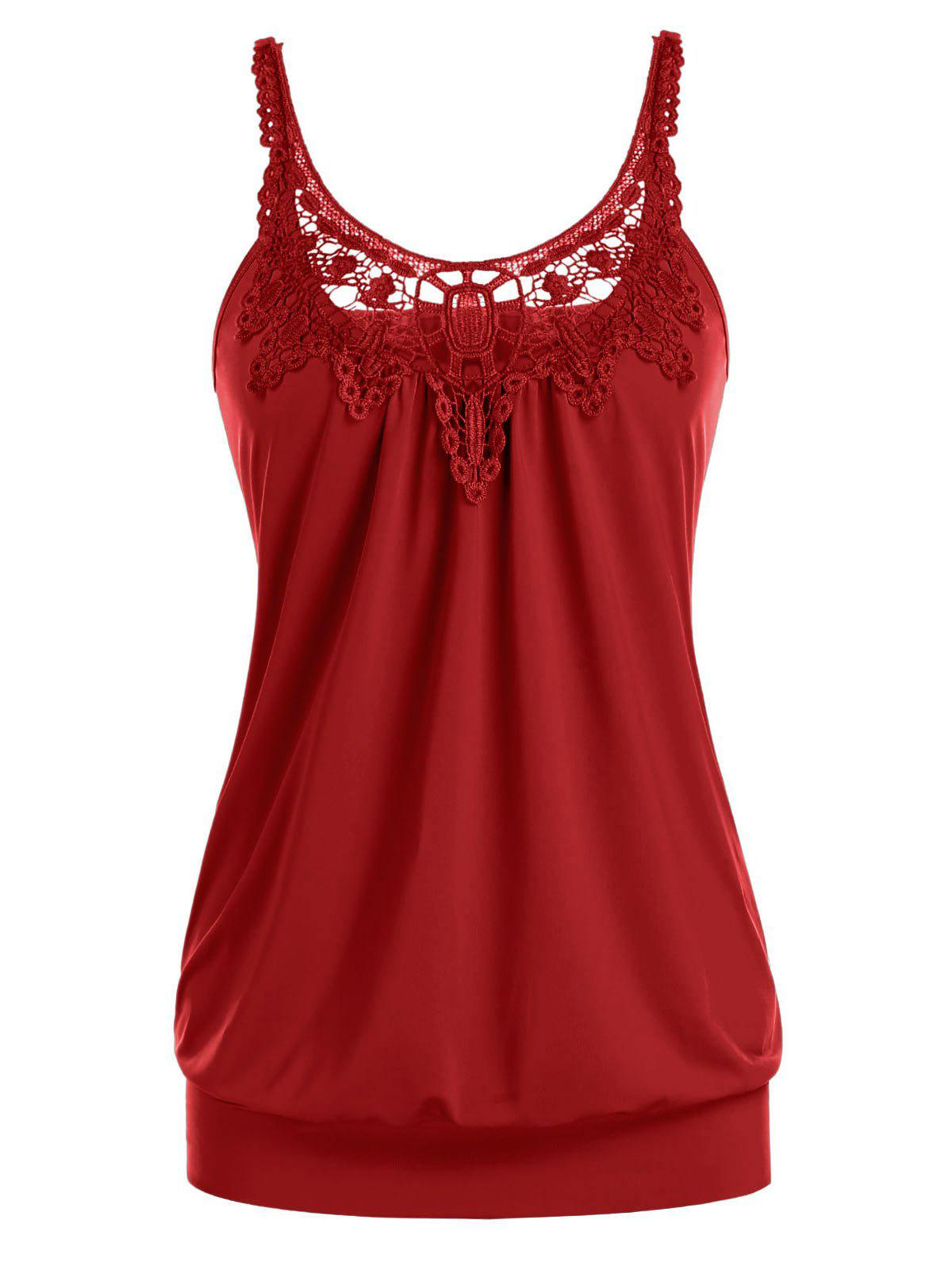 Plus Size Lace Splicing Ruched U Neck Tank Top - CHESTNUT RED 1X