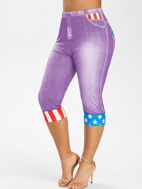 Plus Size American Flag Print Cropped 3D Jeggings