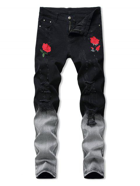 Floral Embroidery Ripped Design Jeans
