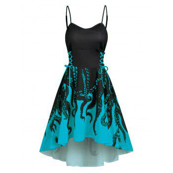 High Low Lace Up Octopus Print Cami Dress