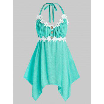 Plus Size Ruched Bust Button Handkerchief Tank Top