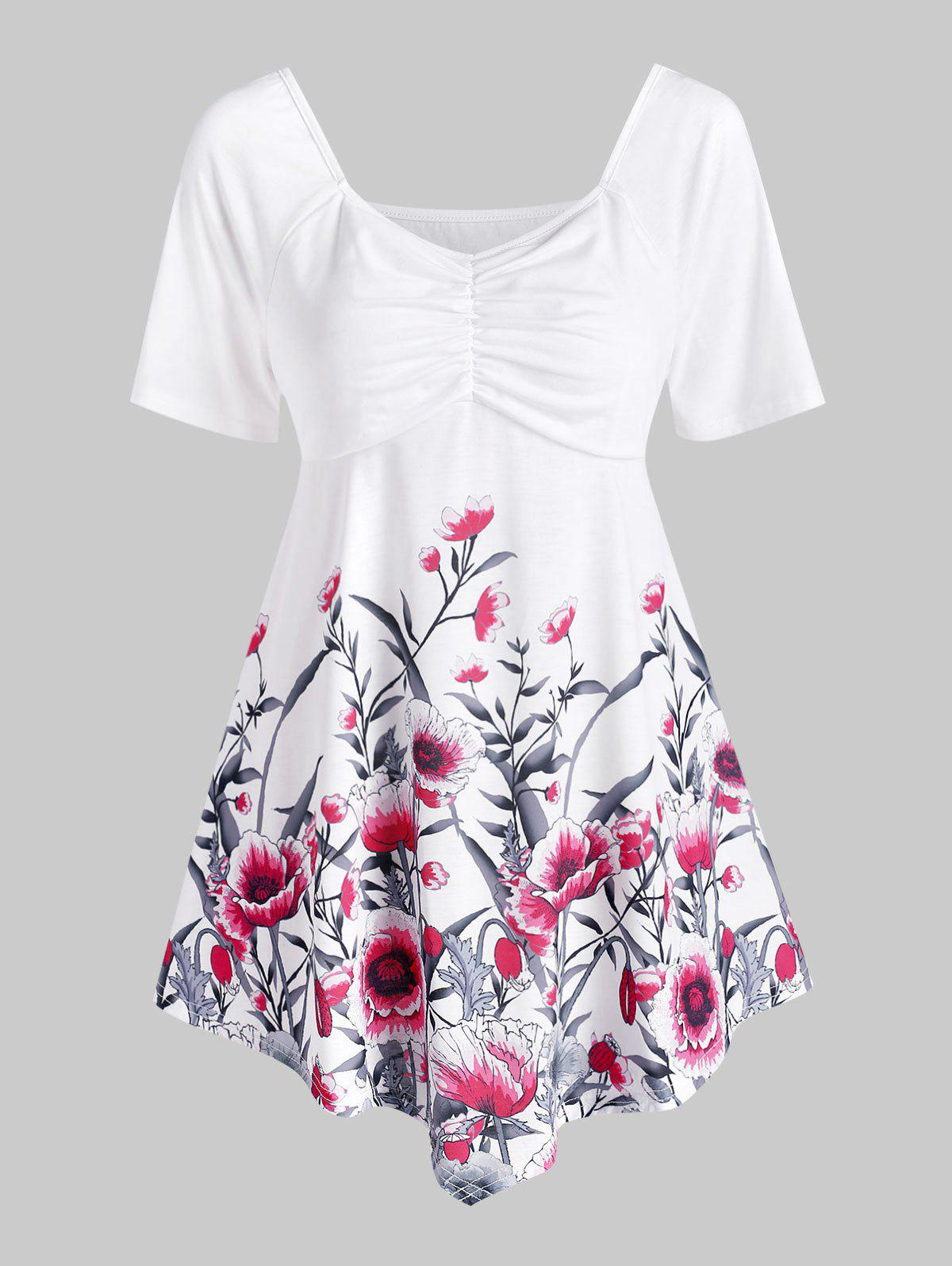 Ruched Floral Tunic Top - WHITE S