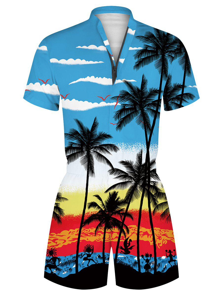 Hawaii Palm Tree Print Vacation Romper - multicolor L
