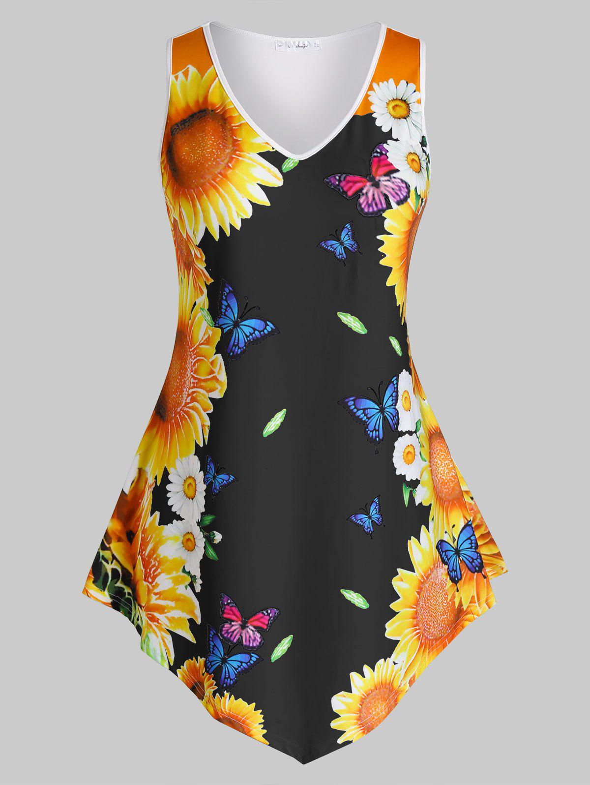 Plus Size Sunflower Butterfly Print Asymmetric Tank Top - BLACK 1X