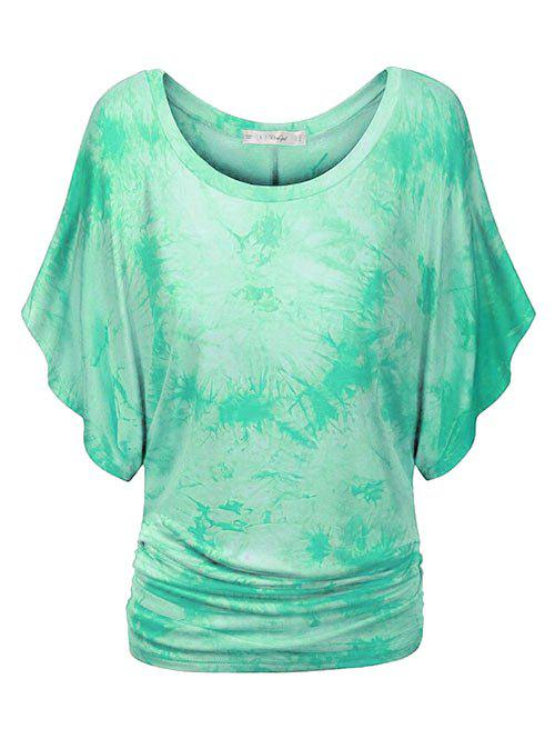 Tie Dye Ruched Batwing Sleeve Plus Size Top - MINT GREEN 2X