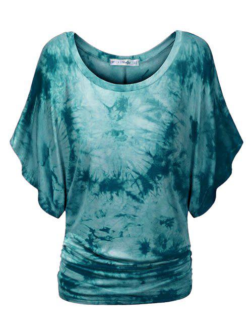 Tie Dye Ruched Batwing Sleeve Plus Size Top - GREENISH BLUE 2X