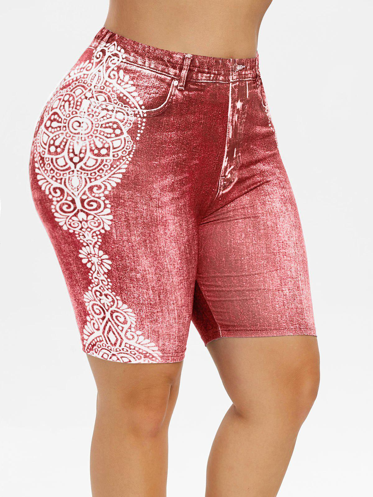 Plus Size Tribal Print Faux Denim Shorts - BEAN RED 3X