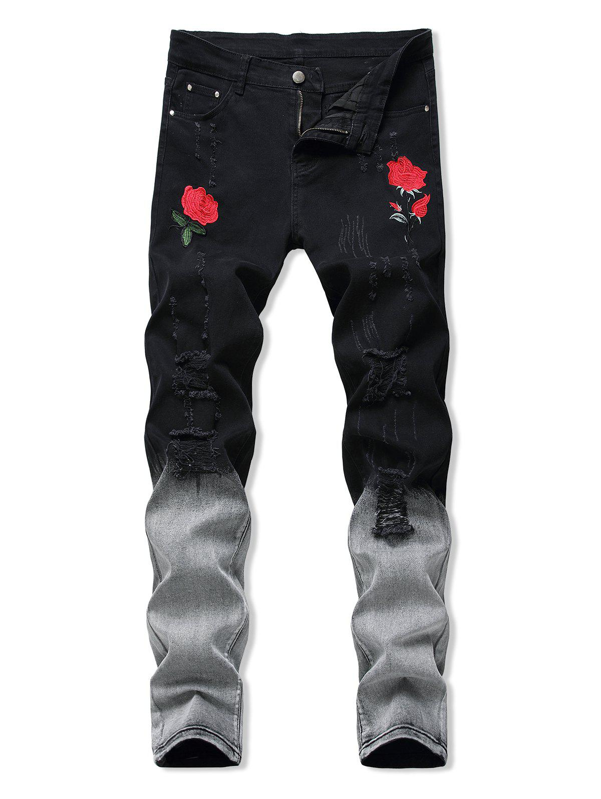 Floral Embroidery Ripped Design Jeans - ASH GRAY 34