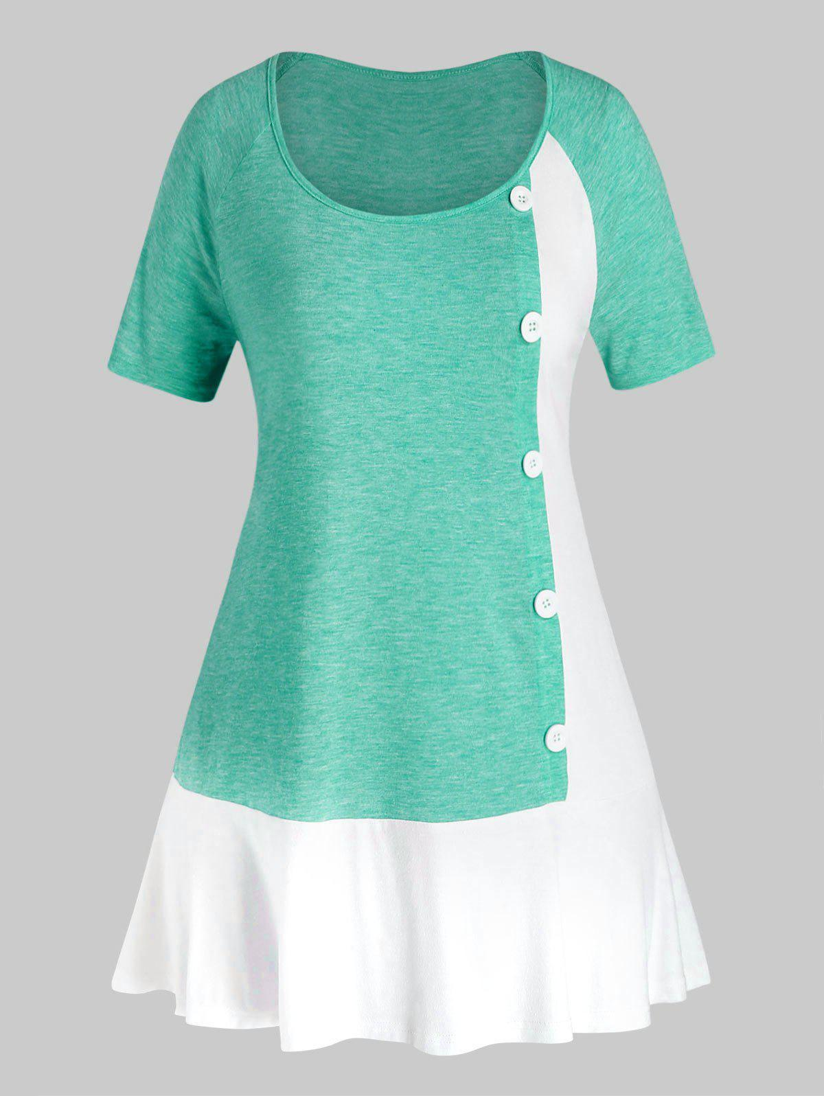 Plus Size Two Tone Mock Button T Shirt - MEDIUM TURQUOISE 5X