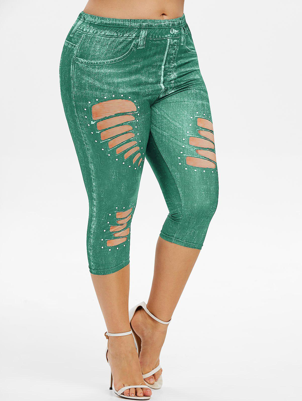 Plus Size 3D Ripped Print Cropped Jeggings - SEA TURTLE GREEN 1X