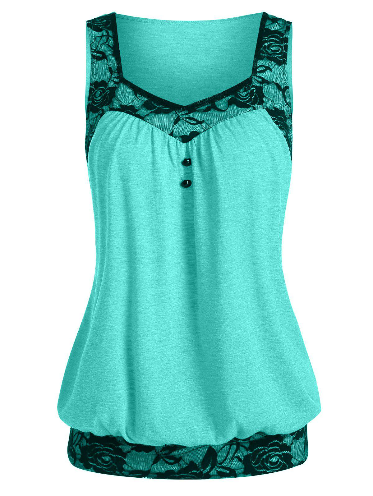 Lace Insert Mock Button Blouson Tank Top - AQUAMARINE L