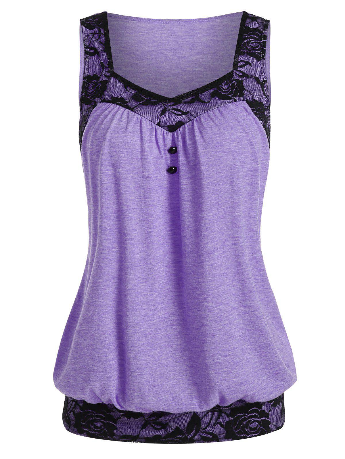 Lace Insert Mock Button Blouson Tank Top - MAUVE 2XL