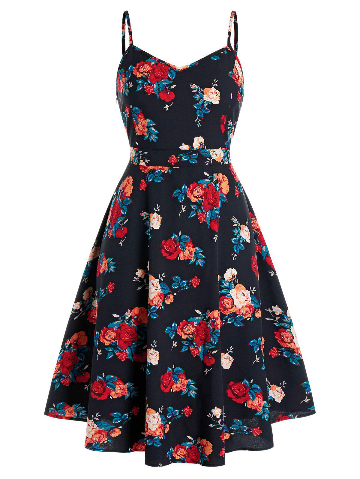 Plus Size Floral Printed A Line Slip Dress - BLACK 2X