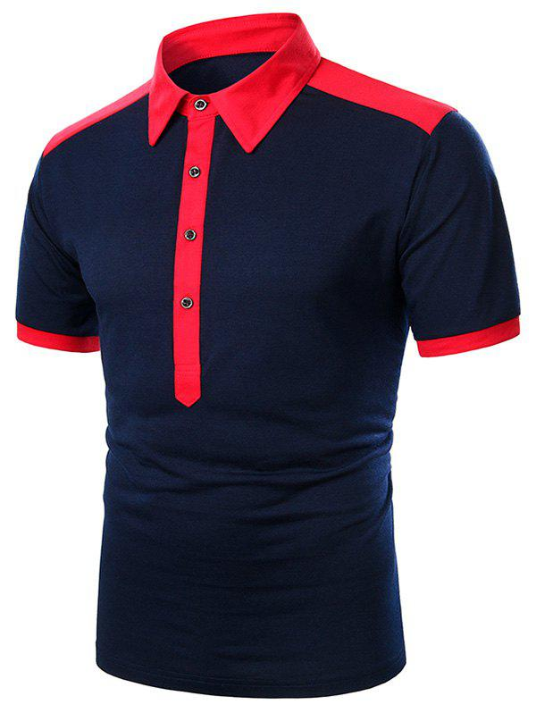 Two Tone Turndown Collar Button Short Sleeve T Shirt - RED XL