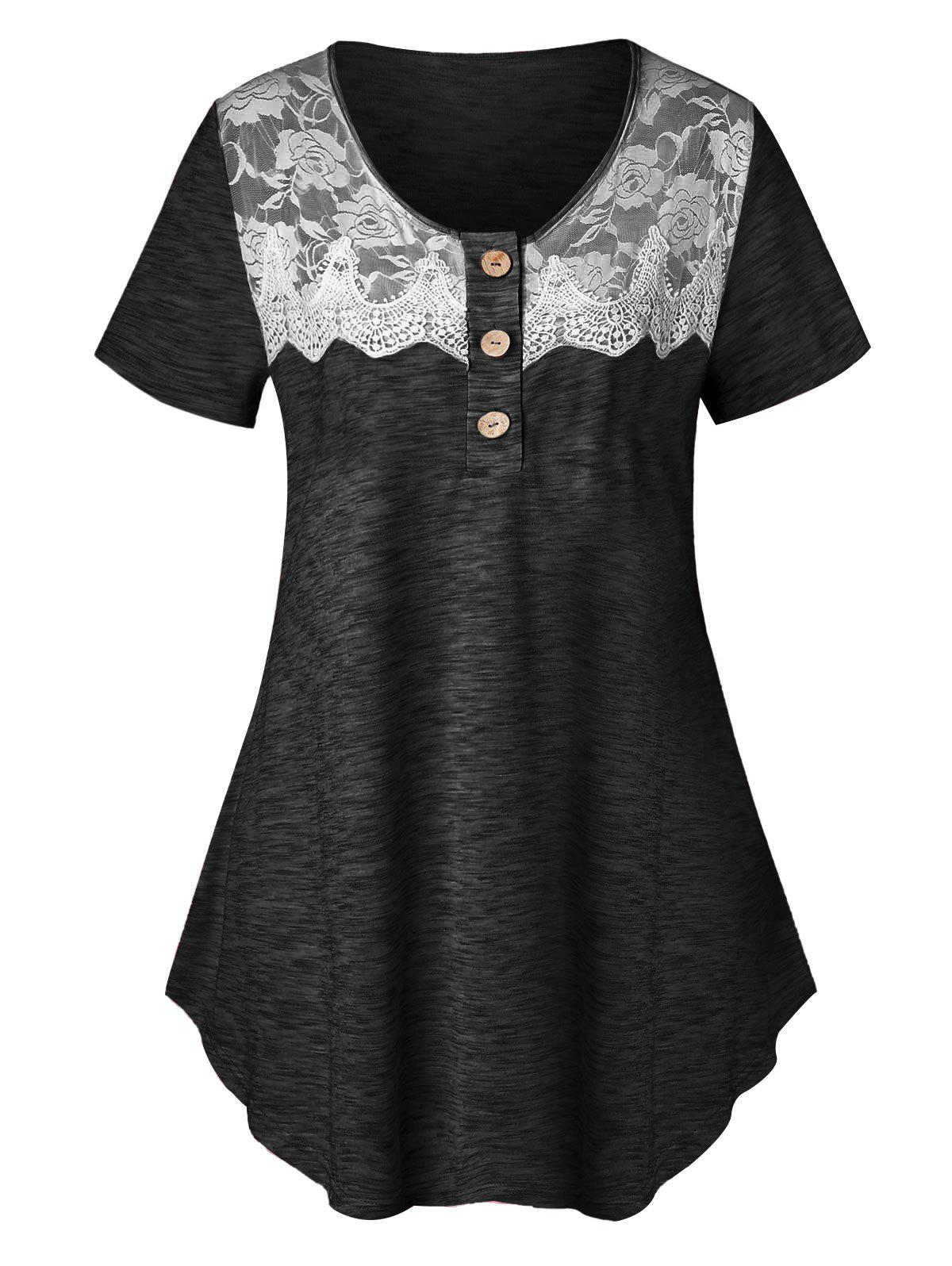 Plus Size Lace Insert Marled T Shirt - BLACK 1X